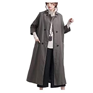 S46 Women Long Trench Jacket Dress Casual Loose Fit Maxi Double-Breasted /Lining (L (US12-US14), Khaki)