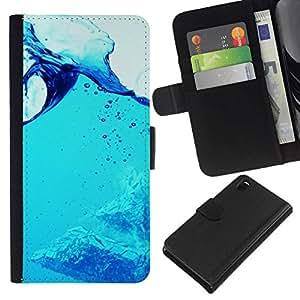 All Phone Most Case / Oferta Especial Cáscara Funda de cuero Monedero Cubierta de proteccion Caso / Wallet Case for Sony Xperia Z3 D6603 // Blue Water Splash