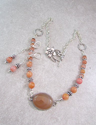Chalcedony Agate Pendant (Orange Chalcedony Gemstones with Agate Pendant Focal Necklace Set, Brown Necklace)