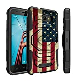 Untouchble Case for Coolpad Defiant Case, Defiant Case [Max Alpha Holster]- [Swivel Holster] Heavy Duty Dual Layer Hybrid Case with Kickstand and Belt Clip - Vintage America Flag