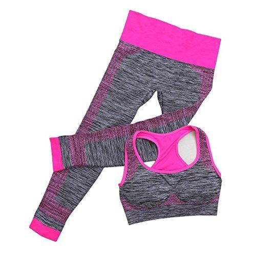 Hmilydyk pour femme 2pièces Fitness Sport Costumes Yoga entraînement sans couture Soutien-gorge de sports Dos nageur Pantalon legging Ensemble