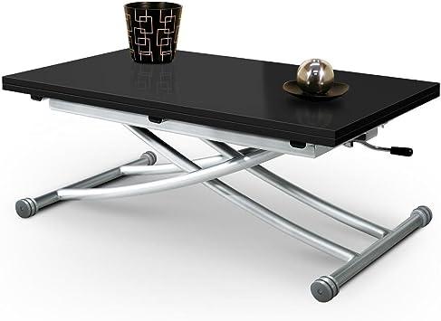 Table Basse Relevable Mirage Dessus Verre Noir Avec Piston à Gaz
