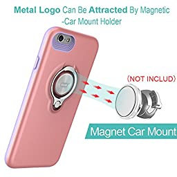 iPhone 6 Case with Ring Kickstand by ICONFLANG, 360 Degree Rotating Ring Grip Case for iPhone 6 Dual Layer Shockproof Impact Protection Apple iPhone 6 Case Compatible with Magnetic Car Mount- Pink