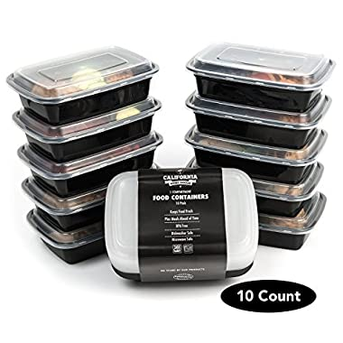 California Home Goods 1 Compartment Reusable Food Storage Containers with Lids, Microwave and Dishwasher Safe, Bento Lunch Box, Stackable, Set of 10