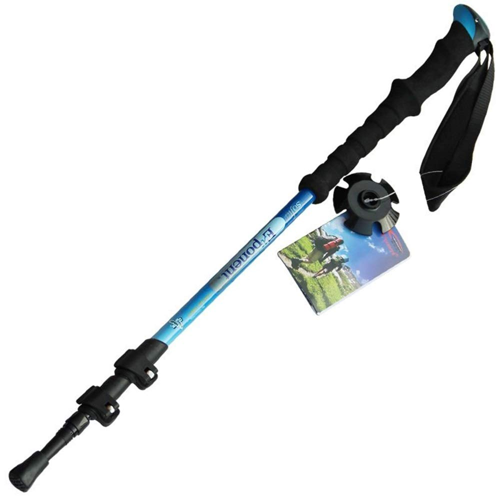 CCwenjing Carbon Lock Three-Section Straight Handle Walking Stick Trekking Pole Lightweight Walking Stick (Color : Blue, Size : 68cm-135cm) by CCwenjing