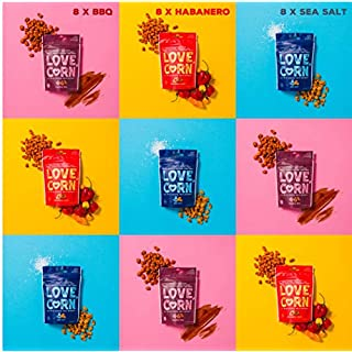 LOVE CORN: Variety Pack | 8x Sea Salt, 8x Habanero Chilli, 8x Barbecue | Roasted Crunchy Corn - Gluten-Free - Plant based & Vegan - Healthy Snack - Low Calorie - Non GMO - (Box of 24 bags, 20g each)