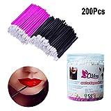 200 Pcs Disposable Lip Brushes, QMAY Lipstick Gloss Wands MakeUp Lip Brush, Lip Gloss Applicators Makeup Brushes Tool Kits(Pink + Black)
