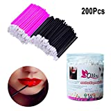 200 Pcs Disposable Lip Brushes, QMAY Lipstick Gloss Wands MakeUp Lip Brush, Lip