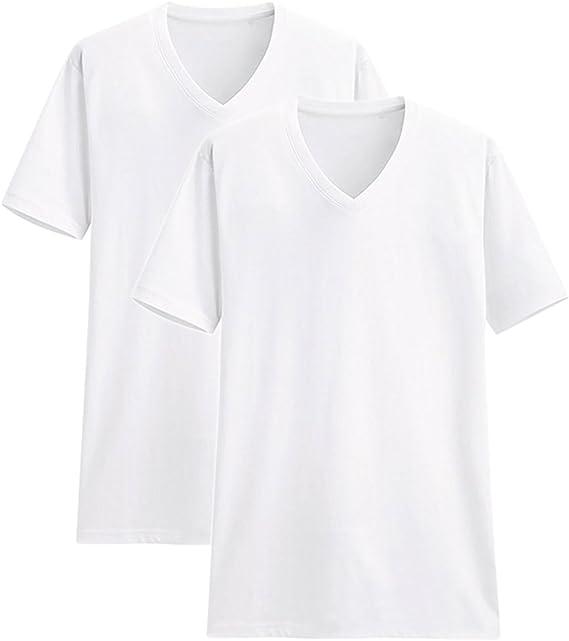 TALLA XXL. Camisetas Manga Corta Hombre Cuello Pico Algodón Paquete de 2 o de 5