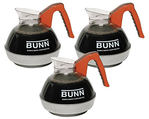 BUNN 06101.0103 BUNN 12 Cup Easy Pour Commercial Decanter with Orange Handle (3 pack), Orange by BUNN