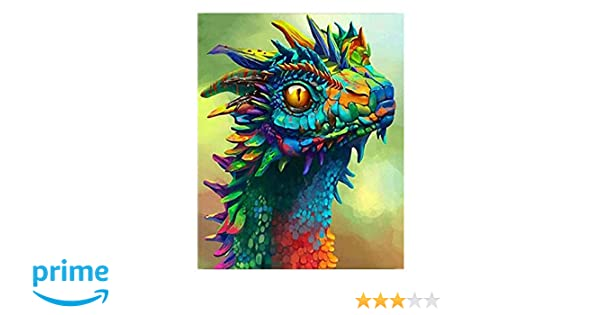 Kimily DIY Paint by Numbers for Adults Kids Dragon Paint by Numbers DIY Painting Acrylic Paint by Numbers Painting Kit Home Wall Living Room Bedroom Decoration Dragon Painting, Drawing & Art Supplies Arts, Crafts & Sewing