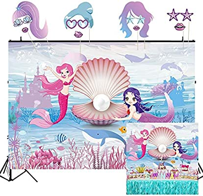 Amazon Com Ourwarm 7x5ft Little Mermaid Photography Backdrop And