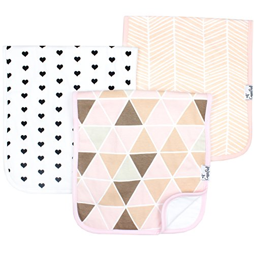 "Baby Burp Cloth Large 21''x10'' Size Premium Absorbent Triple Layer 3 Pack Gift Set For Girls ""Blush Set"" by Copper Pearl"