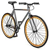 Retrospec Harper Single-Speed Fixed Gear Urban Commuter Bike, Matte Graphite/Orange, 57 cm