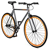 Retrospec Harper Single-Speed Fixed Gear Urban Commuter Bike, Matte Graphite & Orange 53cm, M