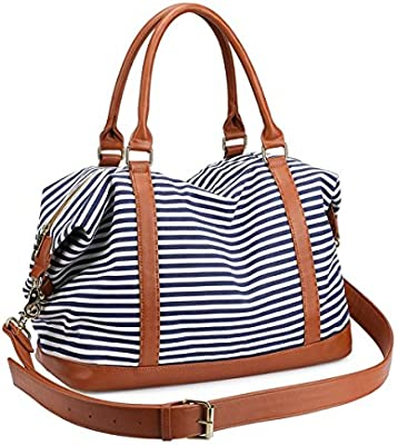 d8cd100c28f Women's Travel Duffle Bags, LOSMILE Ladies Canvas Weekend Overnight Carry  on Shoulder Tote Bag Holdall Luggage Bags (Navy Blue Stripe)