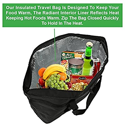 Insulated Grocery Bag By Lebogner - Large 5 Gallon Capacity Vacation Cooler Bag For Hot Or Cold Food With Zipper Closure, Collapsible Travel Delivery, Shopping Carry Basket, Camping Outdoor Picnic Bag