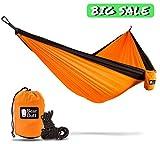 Bear Butt Double Parachute Camping Hammock, Orange / Black