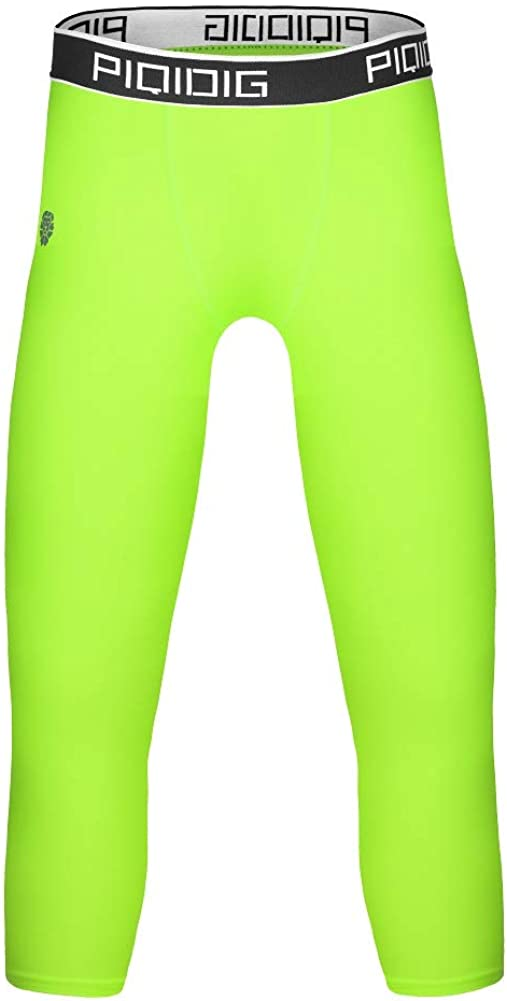 PIQIDIG Youth Boys Compression Pants 3//4 Basketball Tights Sports Capris Leggings
