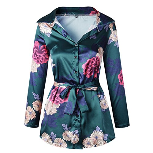 Moxeay Women Long Sleeve Floral Print Satin Silk Button Down Shirt Dress with Belt (M, Green) (Dress Floral Satin)