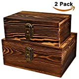 dvd storage cabinet with lock - 2 Sets Crafted Wood Box Wooden Boxes Treasure Chest Memory Hobby Favor Preservation Rustic Cabinet Archival Organizer for Jewelry Keepsake Gadget Trinket Letter Photo Cash Storage Trunk with Lock key
