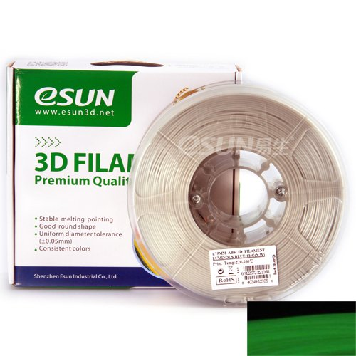 eSUN 1.75mm Glow in the Dark ABS 3D Printer filament 1kg Spool (2.2lbs), Luminous Green