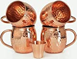 Scash Handcrafted Copper Moscow Mule Mugs Hammered Finish (Set of 4)