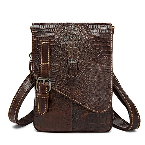Crocodile Leather Goods - Mayshe Mens Vintage Small Genuine Leather Crocodile Embossed Crossbody Shoulder Waist Bag Pack Coffee
