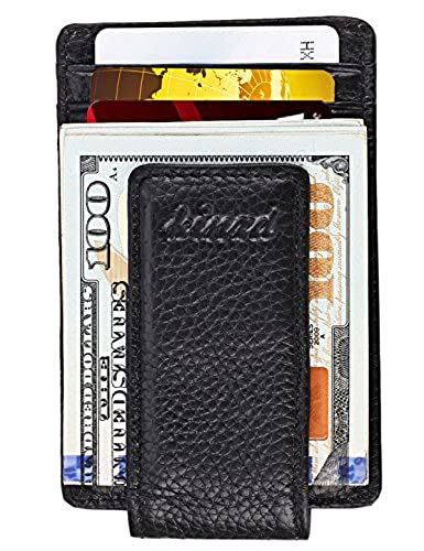 08. Money Clip, Front Pocket Wallet, Leather RFID Blocking Strong Magnet thin Wallet