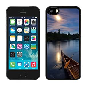 NEW Unique Custom Designed iPhone 5C Phone Case With River Boat Sunset Silky Water_Black Phone Case