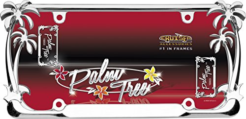 Cruiser Accessories 19003 Palm Tree License Plate Frame, Chrome