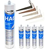 4 x Bond It Transparent HA6 Silicone Sealant High Modulas safe for RTV fresh or marine salt water aquarium fish tanks - EU3 Cartridge (approx. 310ml) by Truly PVC Supplies