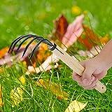 FAMKIT Garden Claw Rake with 5 Tines, Multifunction Rake for Cleaning Fallen Leaves Weeds Loosen Soil Nursery