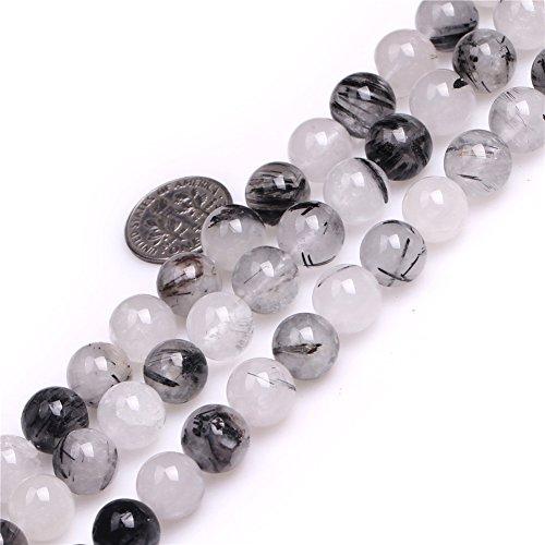 Rutilated Quartz Round Beads (10mm Round Black Rutilated Quartz Beads Strand 15 Inch Jewelry Making Beads)