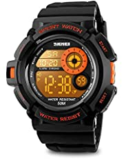 Aposon Mens Digital Sports Watch, Military Army Electronic Watches Running 50M 5 ATM Waterproof Sports LED 7 Colour Wristwatch Water Resistant with Stopwatch