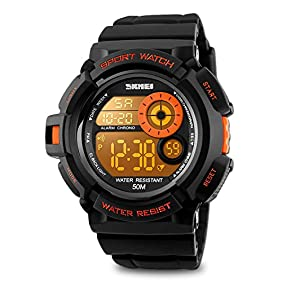 Mens Digital Watch, Electronic LED Sport Watch Waterproof Military 50M 5ATM Water Resistant Stopwatch 7 Color Backlight- Orange