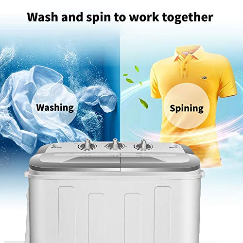 Portable Washer and Dryer,Safeplus Compact Mini Twin Tub Versatile Washing Machine with 8 lbs Washing &5 lbs Spin Dryer Load Cappacity Gravity Drain Pump and Drain Hose for apartments (gray)