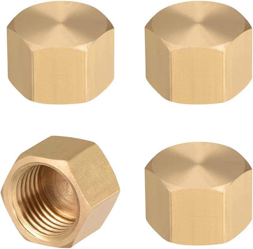 uxcell G1/4 Pipe Fitting Cap, Brass Hex Female Thread Hose Connector, for Garden and Outdoor Water Pipes Nozzle Joints, 4Pcs