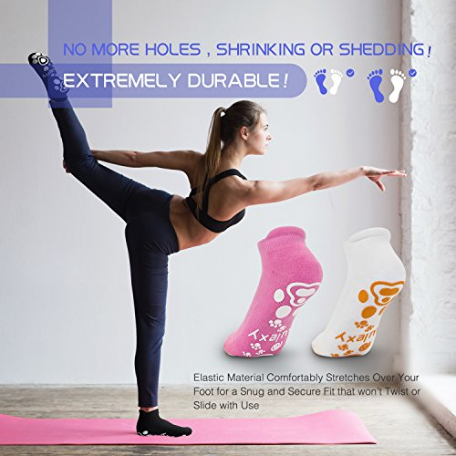 Women Non Slip Skid Yoga Pilates Barre Dace Socks with Grips Cotton Four Colors 4 Pairs