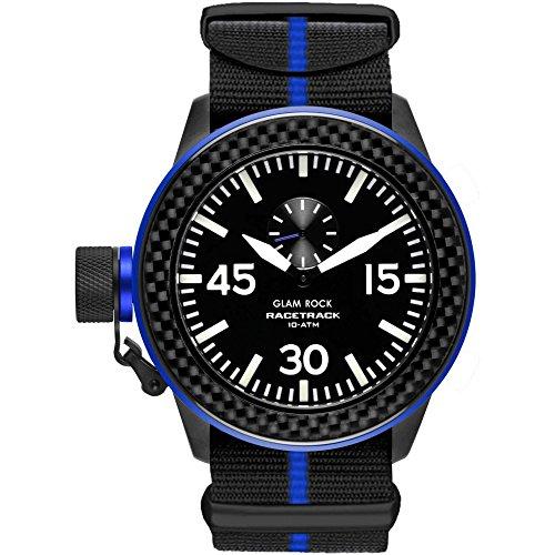 Glam Rock Men's Racetrack 46mm Multicolor Nylon Band IP Steel Case Swiss Quartz Black Dial Watch GRT29008F