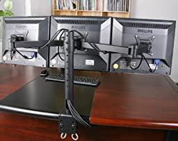 VIVO Triple LCD Monitor Desk Mount Stand Heavy Duty Fully Adjustable fits 3 /Three Screens up to 24\