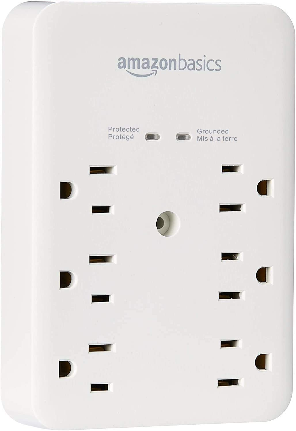 Basics 6 Outlet, Wall Mount Surge Protector, Power Strip, 2 USB ports 3.4A, 1080 Joules: Electronics
