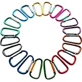 "2""/5cm Carabiner Assorted Colors D Shape Spring-loaded Gate Aluminum Carabiner for Home, Rv, Camping, Fishing, Hiking, Traveling and Keychain, Pack of 20"