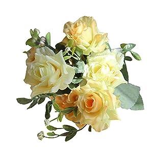 Artificial Rose Flowers Plants Fake Silk Rose Arrangements Wedding Bouquets Decorations Decorative Plastic Floral Party (B, Total Length:APPR.32cm) 86