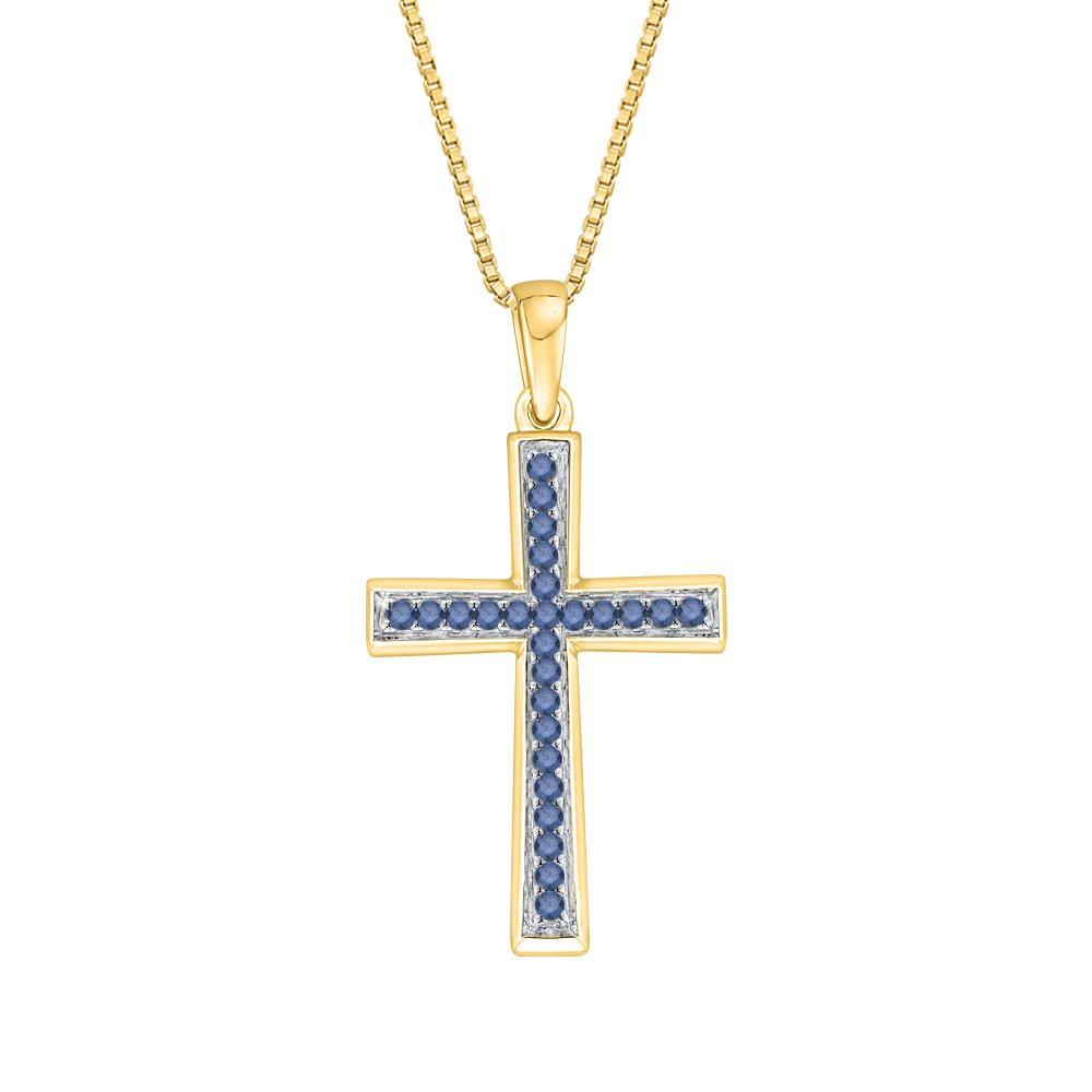 1//10 cttw KATARINA Blue Diamond Cross Pendant Necklace in 10K Gold