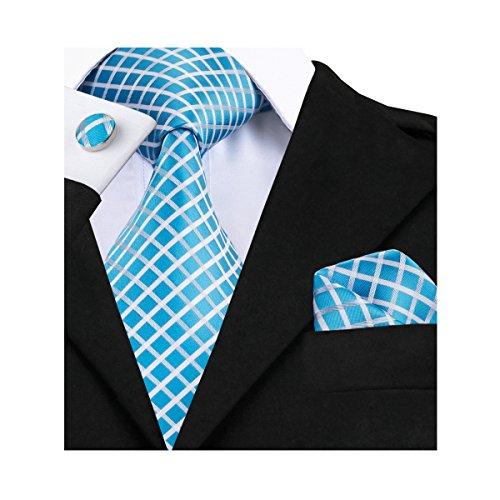 (Barry.Wang Plaid Ties for Men Set Handkerchief Cufflink Sku Blue)