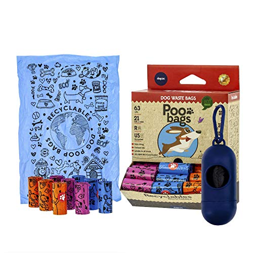 🥇 Rc Ocio Bolsas Caca Perros ecologicas con Porta Bolsa dispensador/Rollo bolsitas higienicas para excrementos Perro Grande y pequeñas/recogedor de heces y excremento de Mascotas