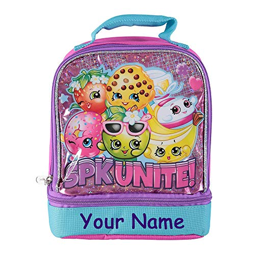(Personalized Shopkins Fruit Character Glittered Metallic Print Lunch Box Bag with Custom Name - 9 Inches)
