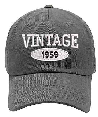 (TOP LEVEL APPAREL Vintage 1959 Embroidered 60th Birthday Relaxed Fitting Dad Cap Grey)