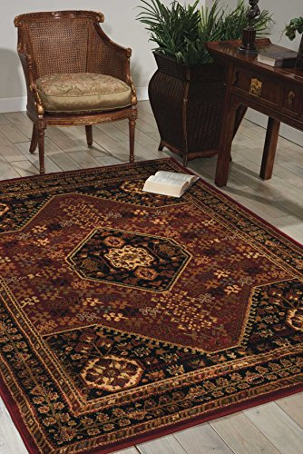 Nourison Paramount (PAR21) Red Rectangle Area Rug, 5-Feet 3-Inches by 7-Feet 3-Inches (5'3